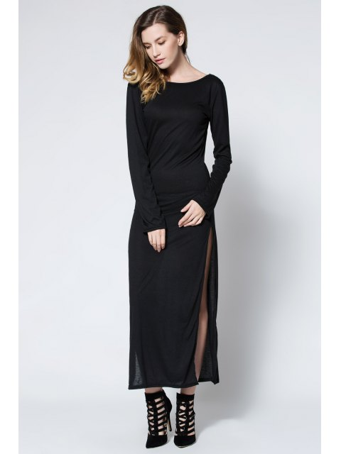 women Low Back High Slit Maxi Dress - BLACK M Mobile