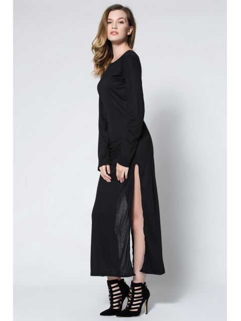 women's Low Back High Slit Maxi Dress - BLACK L Mobile