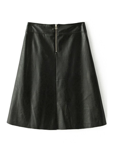 affordable PU Leather Thicken All Match Solid Color Winter Skirt - BLACK L Mobile