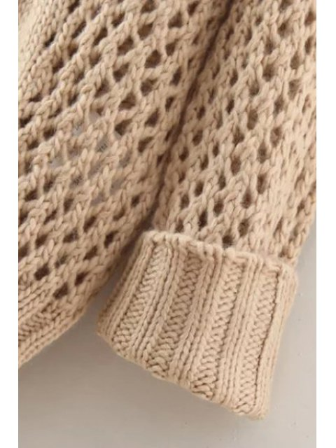 fashion Hollow Out Twist Braided Solid Color Sweater - APRICOT ONE SIZE(FIT SIZE XS TO M) Mobile