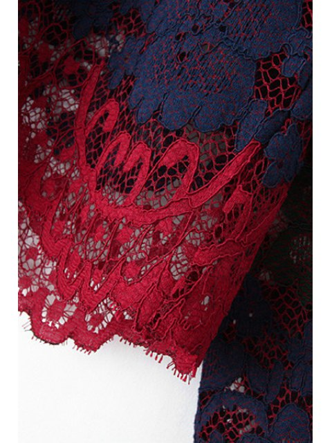 affordable Lace Round Neck Long Sleeve Blouse and Skirt Suit - RED L Mobile