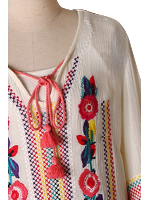 online Embroidered Side Slit Midi Dress - WHITE L Mobile