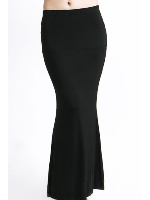 latest Packet Buttock Fishtail Solid Color Skirt - BLACK XL Mobile