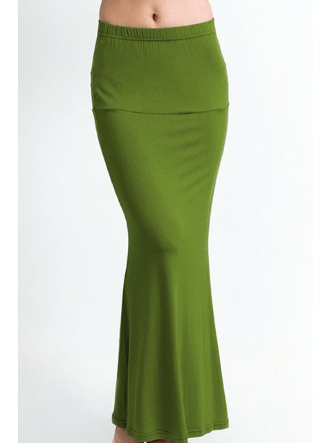chic Packet Buttock Fishtail Solid Color Skirt - ARMY GREEN L Mobile