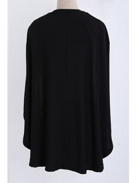 latest Jewel Neck Cape Design Black Sweater - BLACK M Mobile