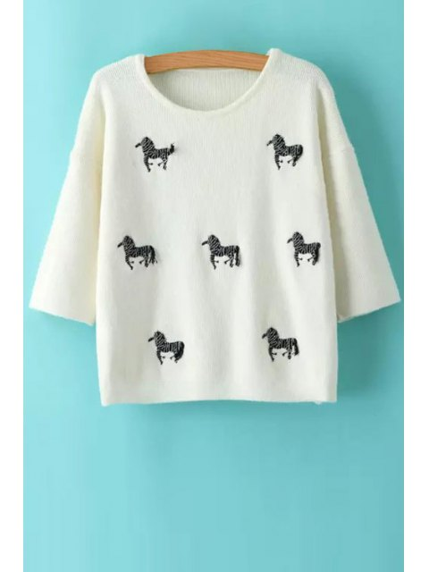 trendy Animal Embroidery Print Round Collar 3/4 Sleeves Sweater - WHITE ONE SIZE(FIT SIZE XS TO M) Mobile