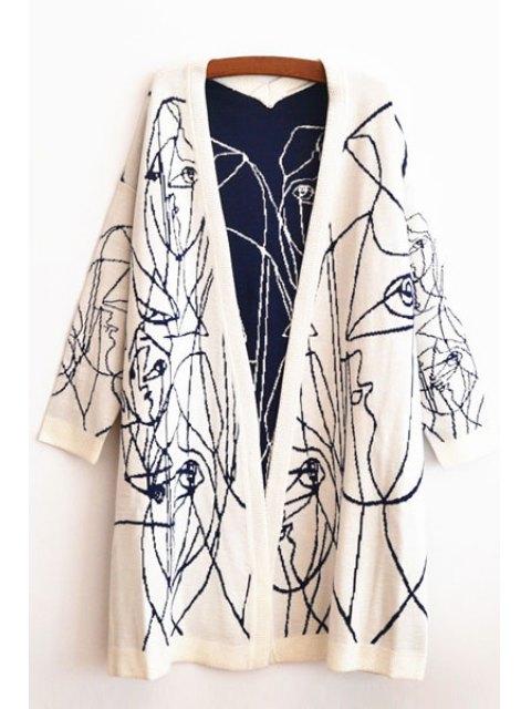 shops Stripe Collarless Long Sleeve Cardigan - WHITE L Mobile
