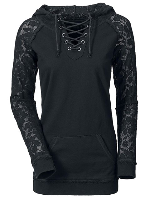 buy Openwork Lace Spliced Lace-Up Long Sleeves Sweatshirt - BLACK L Mobile