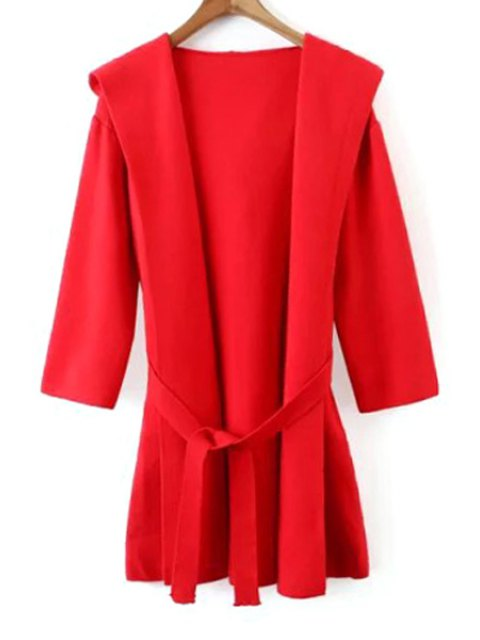 latest Hooded Solid Color Belted Cardigan - RED ONE SIZE(FIT SIZE XS TO M) Mobile