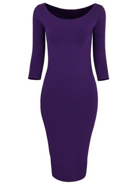 women's 3/4 Sleeve Pure Color Bodycon Dress - PURPLE L Mobile