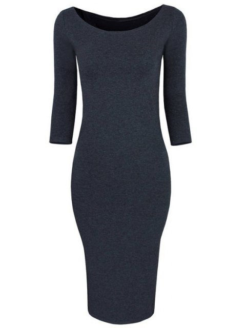 new 3/4 Sleeve Pure Color Bodycon Dress - GRAY XL Mobile