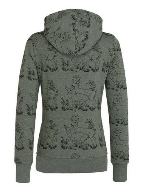 trendy Fawn Print Stand Neck Long Sleeve Sweatshirt - ARMY GREEN L Mobile