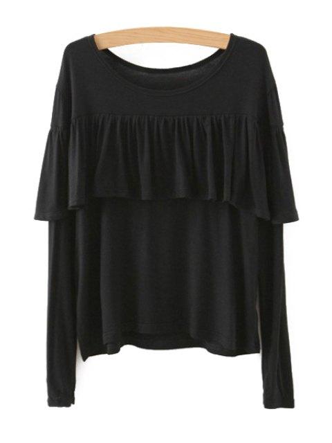 womens Tassels Spliced Long Sleeve T-Shirt - BLACK L Mobile