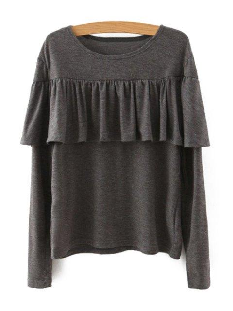 women's Tassels Spliced Long Sleeve T-Shirt - KHAKI M Mobile