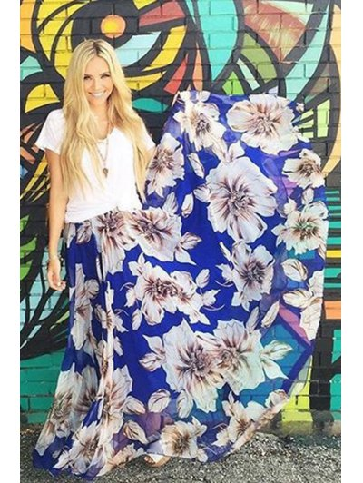 Flower Print A Line Maxi Skirt - Blue And White