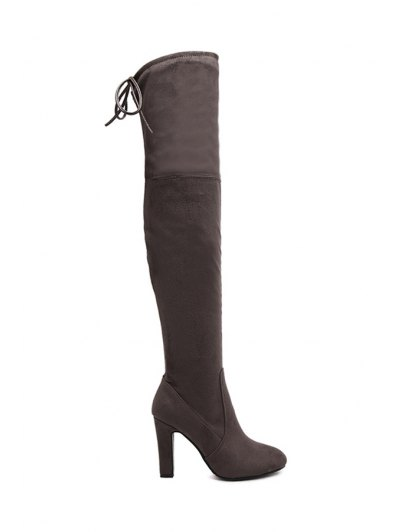 Suede Solid Color Chunky Heel Thigh Boots - Coffee