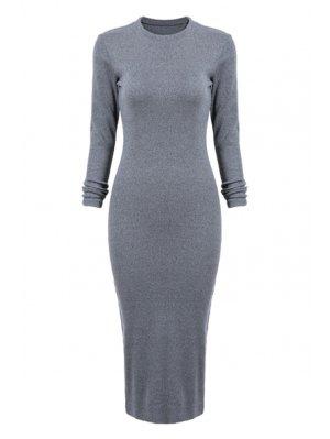 Gray Long Sleeve Bodycon Dress