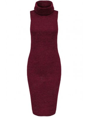 Solid Color Bodycon Turtle Neck Sleeveless Sweater Dress