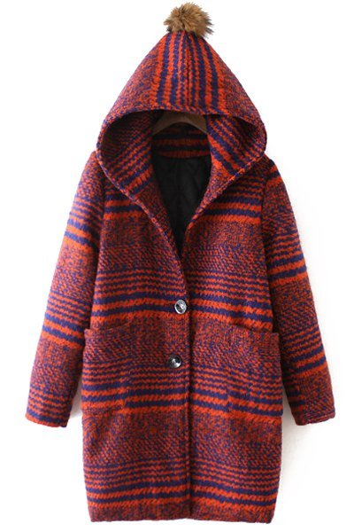 Hooded Long Sleeve Striped Two Pockets Wool Coat
