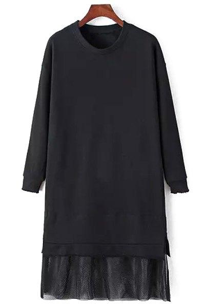 Mesh Spliced Long Sleeve Dress - BLACK M