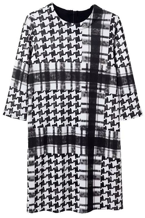 Houndstooth Round Neck 3/4 Sleeve Dress - WHITE/BLACK S