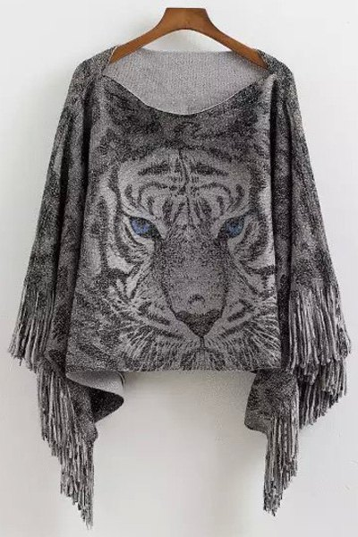 Tiger Pattern Tassels Cape Sweater - GRAY ONE SIZE(FIT SIZE XS TO M)