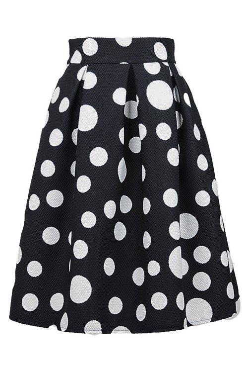 polka dot ruffled midi skirt black skirts zaful