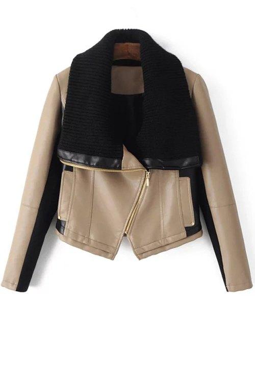 Sweater Turn Down Collar Spliced PU Leather Jacket 152738504