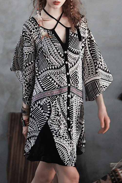 Ethnic Print V Neck Half Sleeves Dress