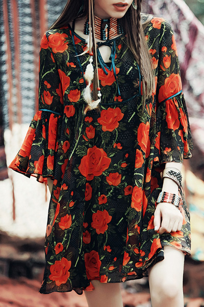 Red Floral 3/4 Sleeve Blouse - RED XS