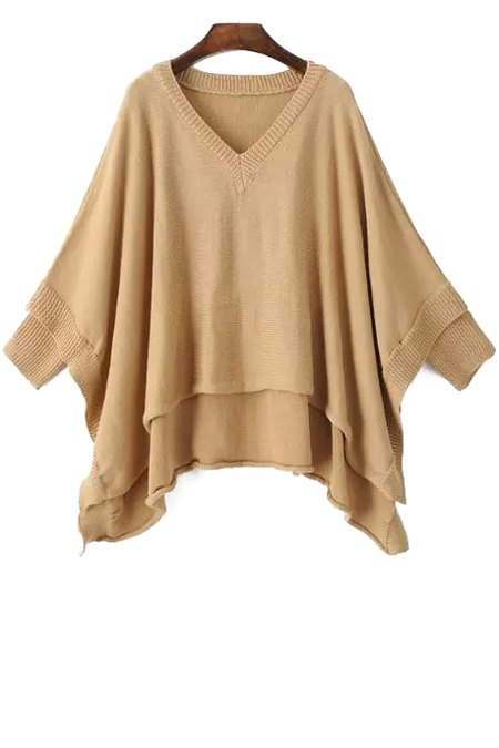 Irregular Hem Solid Color Batwing Sleeves Cape Sweater - KHAKI ONE SIZE(FIT SIZE XS TO M)