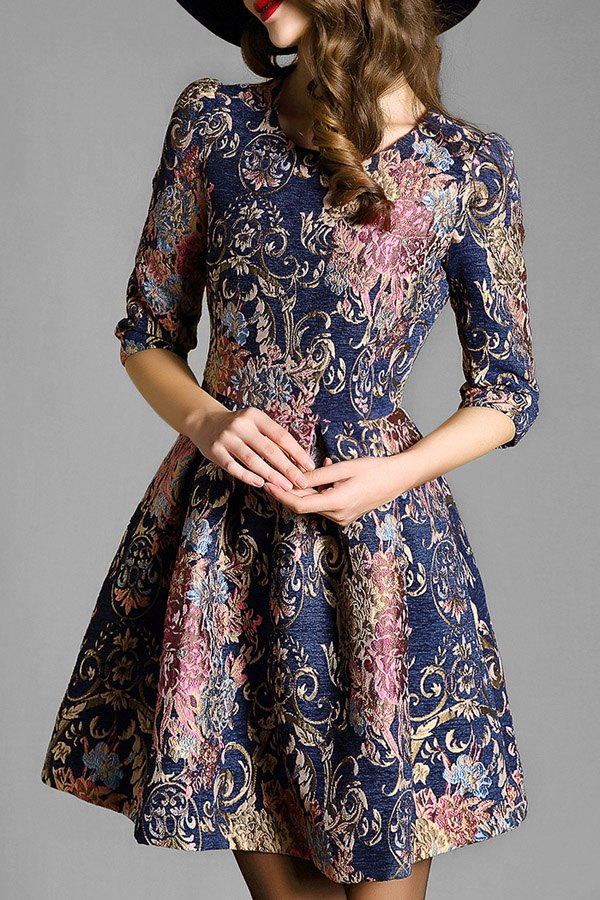 Jewel Neck Half Sleeve Vintage Pattern Flare Dress