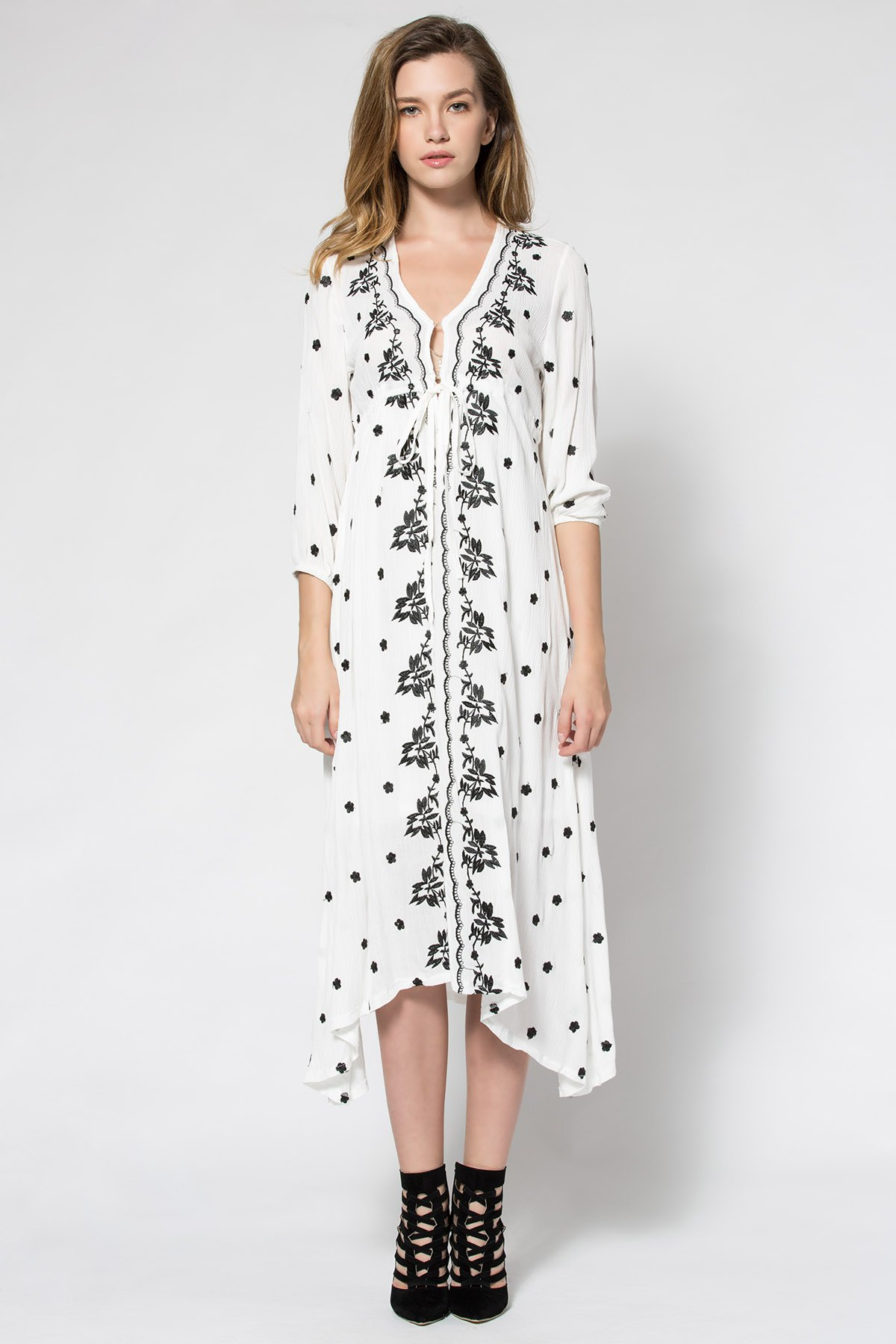 Tiny Floral Embroidery Tie-Up 3/4 Sleeve Dress