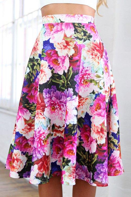 a line floral midi skirt