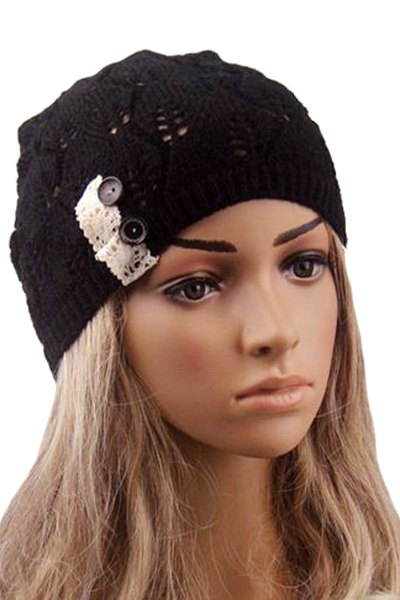 Button Lace Hollow Out Knitted Beanie