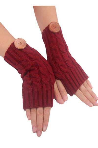 Button Hemp Flowers Knitted Fingerless Gloves