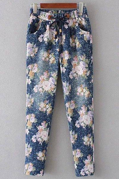 Floral Print Denim Women's Pockets Pants