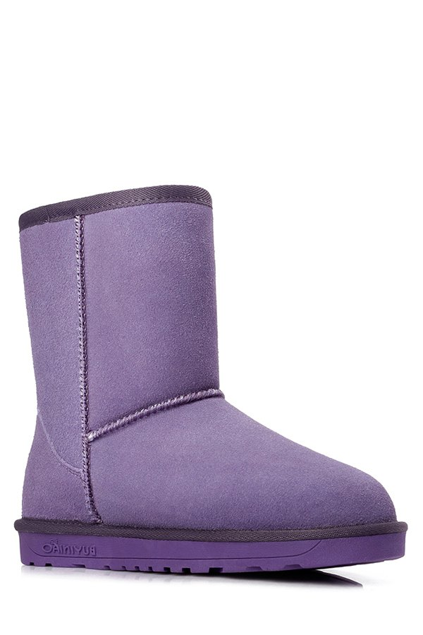 Buy Pure Color Suede Platform Snow Boots PURPLE 37
