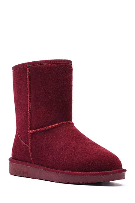 Buy Pure Color Suede Platform Snow Boots WINE RED 37