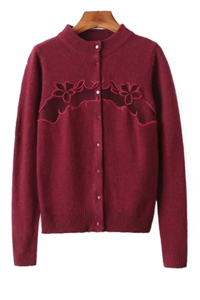 Embroidered Single-Breasted Cardigan - DARK RED ONE SIZE(FIT SIZE XS TO M)