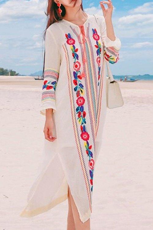 V-Neck Long Sleeve Embroidered Side Slit Midi Dress