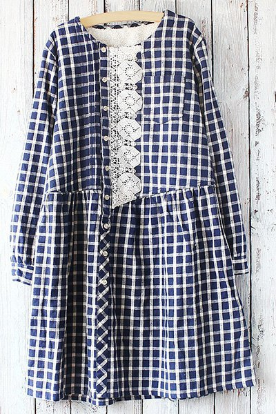 Buy Embroidery Print Checked Round Collar Long Sleeves Dress PURPLISH BLUE ONE SIZE(FIT SIZE XS TO M)