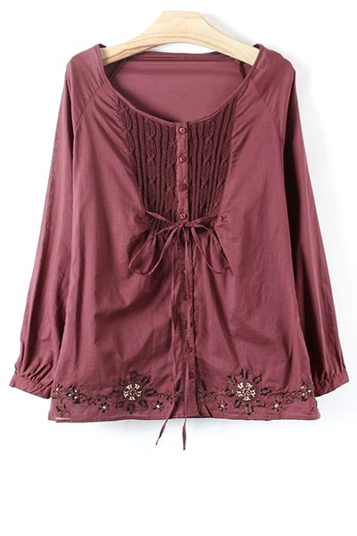 Knit Spliced Embroidery Long Sleeve Blouse - CLARET S