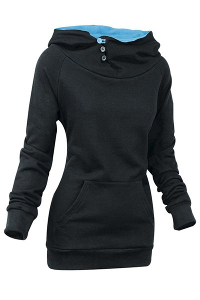 Heaps Collar Long Sleeve Solid Color Sweatshirt
