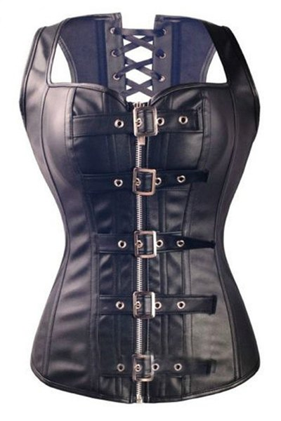 PU Leather Pin Buckle Lace-Up Black Corset