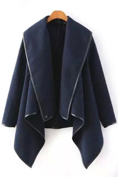 Buy Large Lapel Irregular Hem Wool Coat CADETBLUE XL