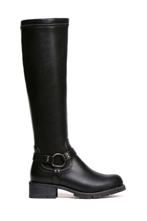 Metal Chunky Heel Black Knee-High Boots - BLACK 35