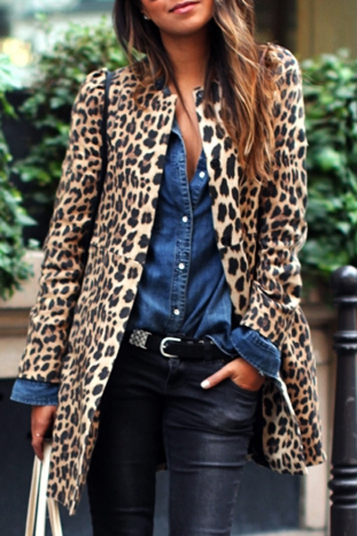 Leopard Print Long Sleeves Sexy Coat