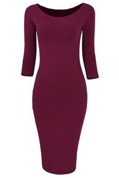 Scoop Collar 3/4 Sleeve Pure Color Bodycon Dress