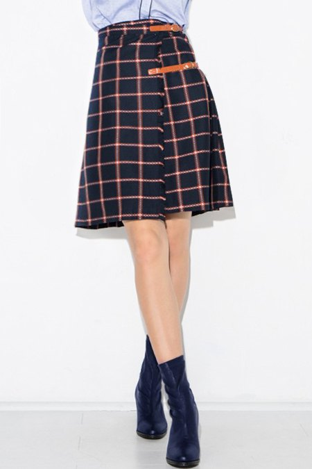 plaid high waisted pleated midi skirt